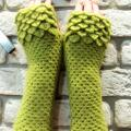 Fingerless gloves green - Wristlets - needlework