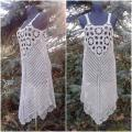 Linen falx crochet dress - Dresses - needlework