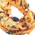 Orange scarf with necklace - Necklace - beadwork