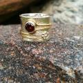 Silver ring with natural garnet - Metal products - making