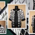 "Jacket  ,,Black - White Square"" - Sweaters & jackets - needlework"