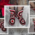 "Slippers ,,Puansetias"" - Shoes - needlework"