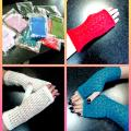 White, blue, green, pink, salad fingerless mitts - Wristlets - knitwork