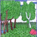 Alpena lawn near the village pond - Pictures - drawing