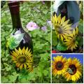 Sunflowers - Decorated bottles - making